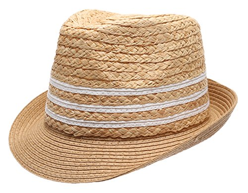 Summer Trilby Short Brim Sun Straw Fedora Hat Cap with Color Striped.(Natural) - Natural Color Straw