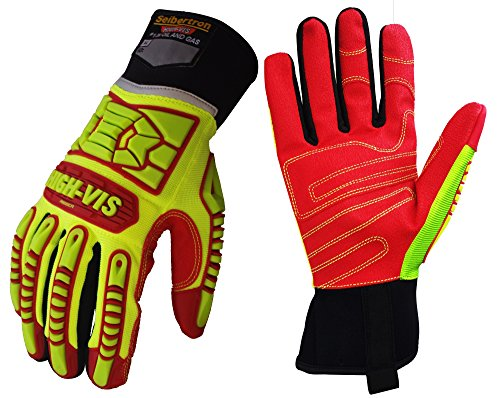 Seibertron HIGH-VIS HRIG Anti Impact Work Gloves Hi-Vis Oil and Gas Water Resistant Safety Heavy Duty Utility Mechanic Rigger Glove with TPR Protection Yellow Red CE EN388 4132 XL ()