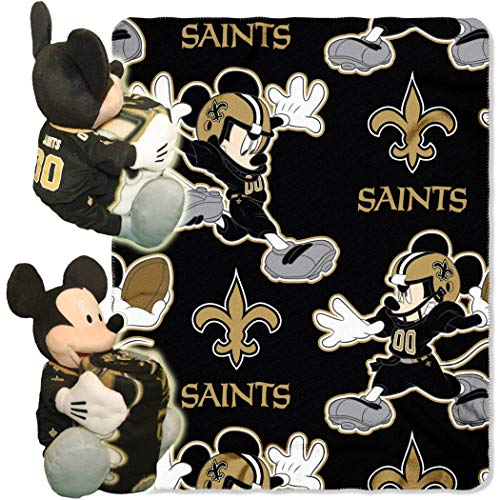 - 2 Piece NFL Saints Throw Blanket Set Full Sized with Disney Mickey Mouse Character Shaped Pillow, Sports Patterned Bedding Team Logo Fan Black, Old Gold, White, Polyester