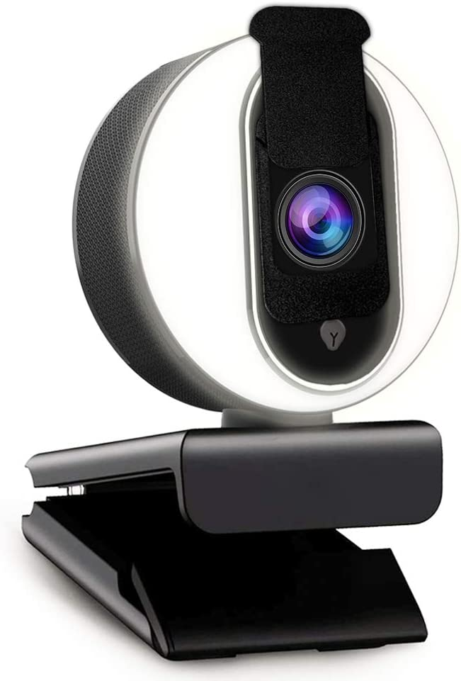 1080P Webcam with Ring Light, Privacy Cover and Dual Microphone, Advanced Auto-Focus, Adjustable Brightness, 2021 NexiGo Streaming Web Camera for Zoom Skype Facetime, PC Mac Laptop Desktop
