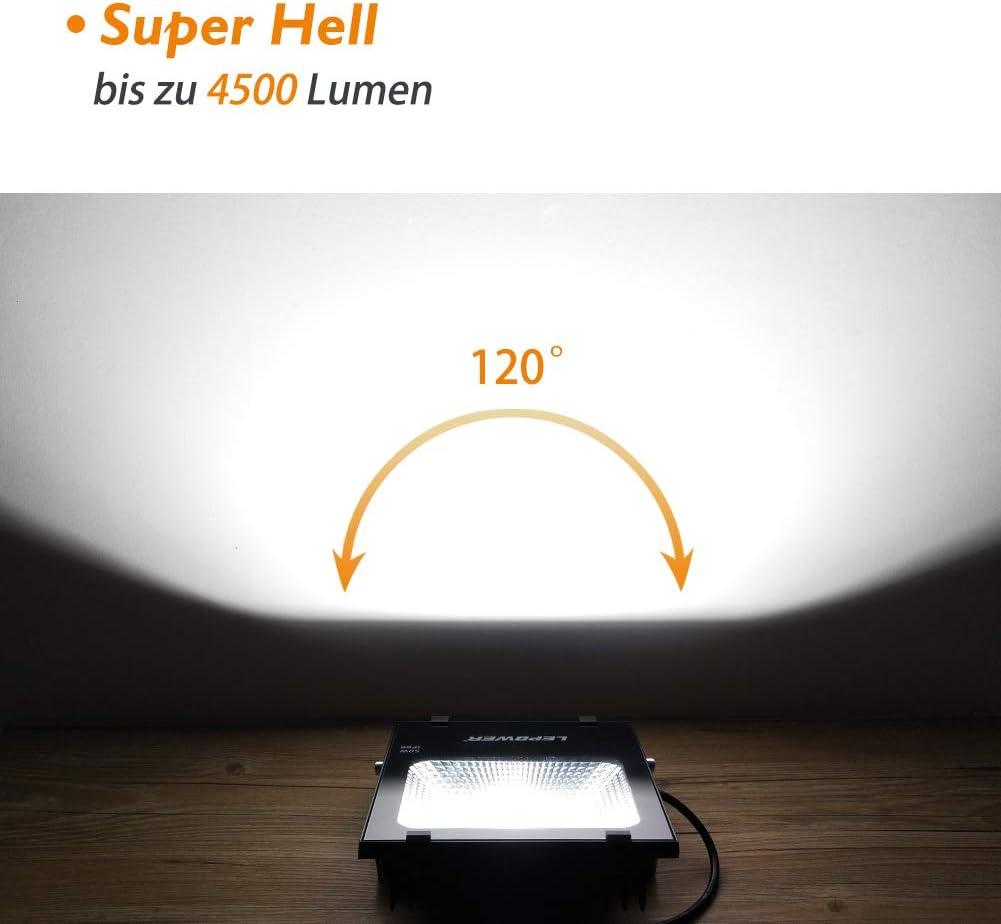 LEPOWER LED Fluter 100W, Außenstrahler Flutlicht 6500K 8000lm superhelle Flut- & Spotbeleuchtung IP66 wasserdichte Außenleuchte mit Stromkabel und Stecker, Arbeitsscheinwerfer, Tageslichtweiß 50w