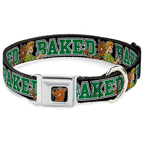 Dog Collar Seatbelt Buckle Scooby Doo Shaggy Pose Baked Black Green 18 to 32 Inches 1.5 Inch Wide]()