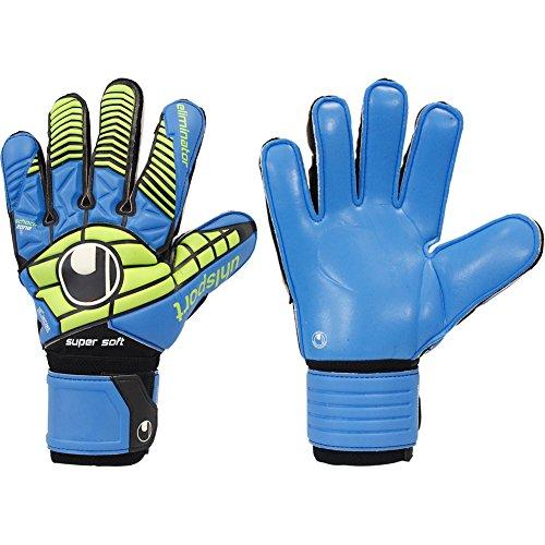 - Mens UHLSPORT ELIMINATOR SUPERSOFT 8 Goalkeeper Gloves Blue For Soccer