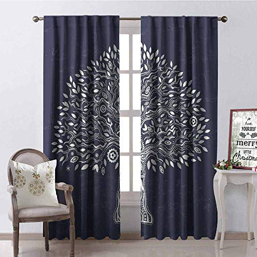 Gloria Johnson Tree of Life Wear-Resistant Color Curtain Unique Ethnic Tree Illustration Pure and Noble in Majestic Mother Nature Waterproof Fabric W42 x L63 Inch Dark Grey White ()