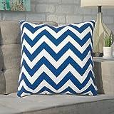 Mercury Row Bollin Chevron 100% Cotton Outdoor Patio Furniture Throw Pillow, Navy, 3 packs