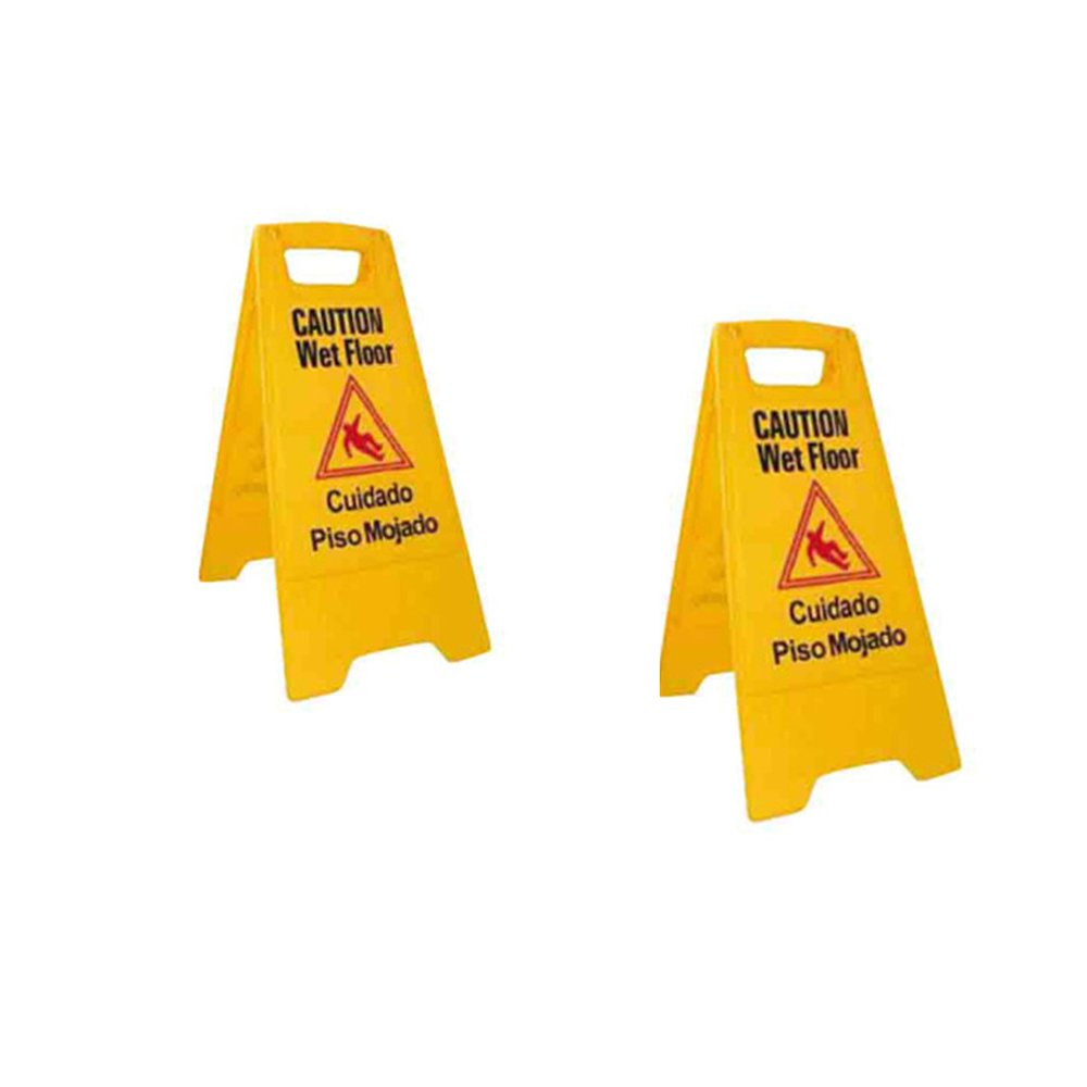 Wet Floor Caution Sign Yellow, 2 Sided Fold-Out Safety Sign 25 x 15 (Set of 2)
