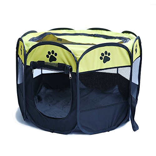 "Petoice 2-Door Foldable Portable Mesh Pet Playpen Kennel Pens for Dogs Cats Rabbits Outdoor Indoor,Yellow,M(35.4"" L x 35.4"" W x 23.6"" H)"