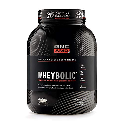 GNC AMP Wheybolic Whey Protein Powder, Classic Vanilla, 25 Servings, Contains 40 Protein, 15g BCAA, and 10g Leucine Per Serving ()