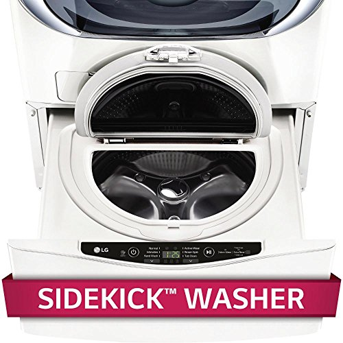 LG WD200CW 29' SideKick Pedestal Washer with 1 cu. ft. Capacity, Direct Drive Motor, Magnetic Remote Control and Specialty Cycles in White