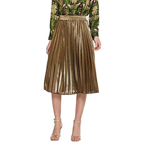 mewow Women's Metallic Skirt High Stretchy Waist Pleated A Line Full Swing Skirt, Long and Short (Gold Short, US 4-6)