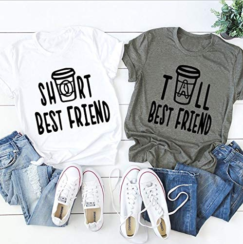 Honeycomb Cotton Basic BFF Best Friend Simple Letter Printed Funny Short Sleeve Casual Tee Shirts for Female(Army Green,Tall-S)