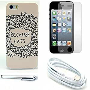 GDW debido protector patrón gatos duro caso y pantalla y el stylus y el cable para el iphone 5 / 5s