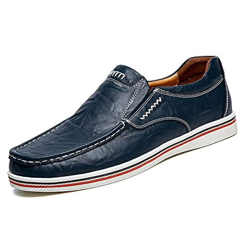 CAI Herrenschuhe Echtes Leder Leder Schuhe Sommer/Herbst/Winter Komfort Loafers  Slip Ons Schwarz/Blau/Braun Herren Driving Shoes/Loafers (Farbe : Blau  Größe : 45) Blau