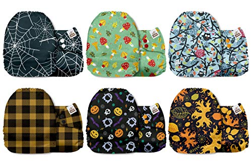 Mama Koala One Size Baby Washable Reusable Pocket Cloth Diapers, 6 Pack with 6 One Size Microfiber Inserts (Fall in Love)