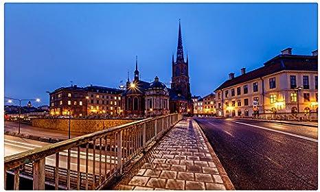 Suecia puentes noche calle valla Estocolmo riddarholmskyrkan Iglesia Antigua Ciudad Ciudades sitios de viajes postal Post tarjeta: Amazon.es: Oficina y papelería