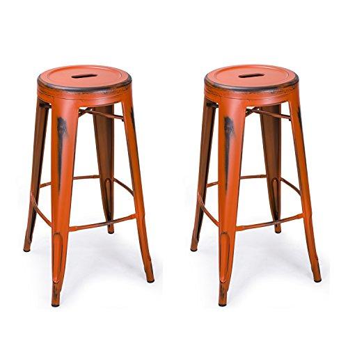 Adeco 30″ Metal Stools, Vintage Barstool Chair for bar & Cafe, Antique Distressed Orange, Set of 2 For Sale