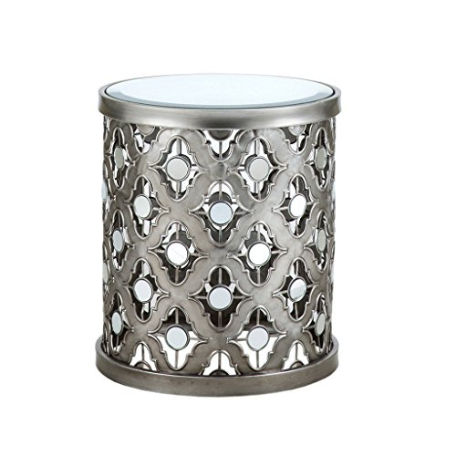 Madison Park Arian Accent Tables - Mirror Glass, Metal Side Table - Silver, Quatrefoil Geometric Design, Modern Style End Tables - 1 Piece Mirror Glass Top Hollow Round Small Tables For Living Room