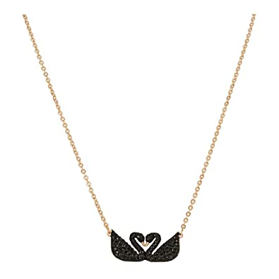 898ad747571 Amazon.com: Swarovski Iconic Swan Double Necklace, Black 5296468 Length: 14  7/8 inches: Jewelry