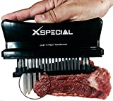 X-Special Just-4-Meat Tenderizer (Try It Now!Taste The Tenderness) Best for Steak Beef Pork Chicken - Chef Kitchen Handheld Tool For Tenderizing - Set 1 Stainless Steel 48 Blade Tenderizers (Black)