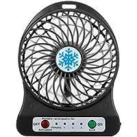 Mini Fan,Elevin(TM)2017 Summer Portable Rechargeable LED Light Fan Air Cooler Mini Desk USB 18650 Battery Fan (Black)