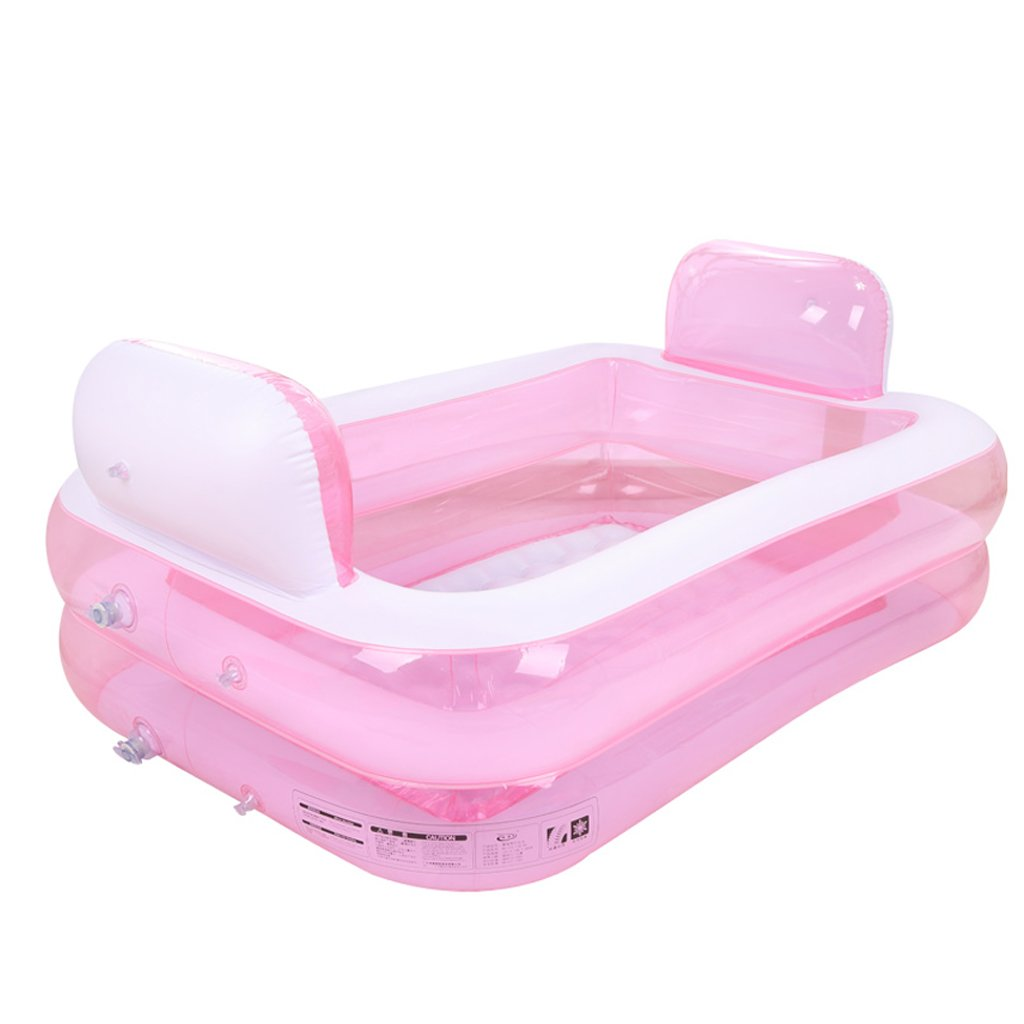 Inflatable Folding Bathtub, Big Size Double Portable Tub Pink Bath Thicker Insulation Adult Home SPA Children Anti-slippery Swimming Pool, Foldable Travel Air Shower Basin Seat Baths