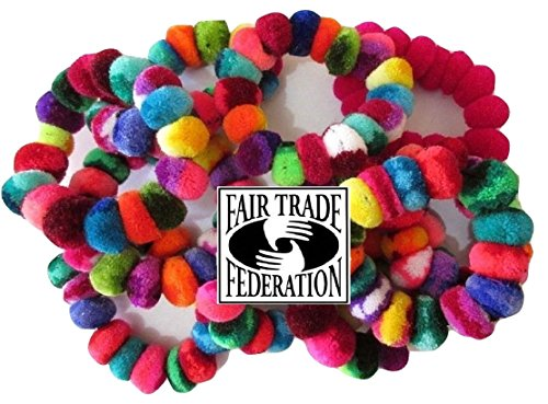 #971 Peru Hand Made Pom Pom Woven Hair Scrunchies Pack of 6 Assortment Wholesale ()