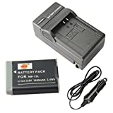 DSTE NB-13L Battery + DC161 Travel and Car Charger Adapter for Canon PowerShot G5X G7X G9X G7 X Mark II G9X Mark II SX620 HS SX720 HS Digital Camera as NB13L