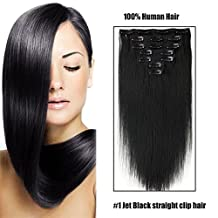 SHOWJARLLY Straight Remy Clip in Human Hair 7pcs/set Full Head Clip in Hair Extensions 70g-120g 20 Inch Double Weft Human Hair Extensions #1 Jet Black