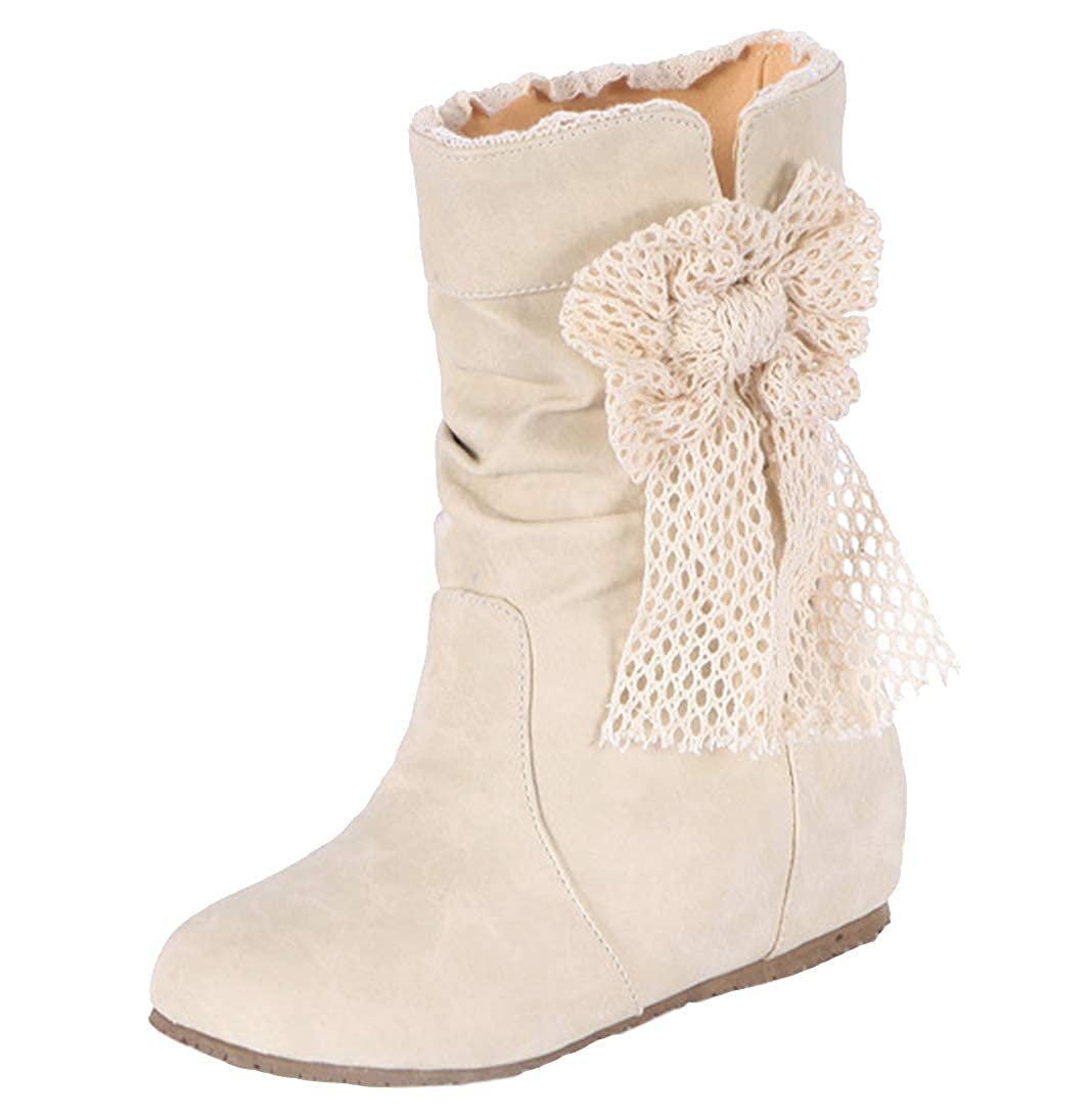 Shalvey Womens IN1.6 Faux Suede Round Toe Hidden Heel Lace Bowtie Mid Calf Boots Size 6-10.5