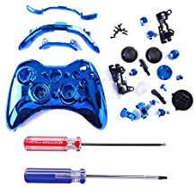 HDE Xbox 360 Wireless Controller Shell Buttons Thumbsticks Torx Screwdriver Replacement Case Cover and Tool Kit - Chrome Blue