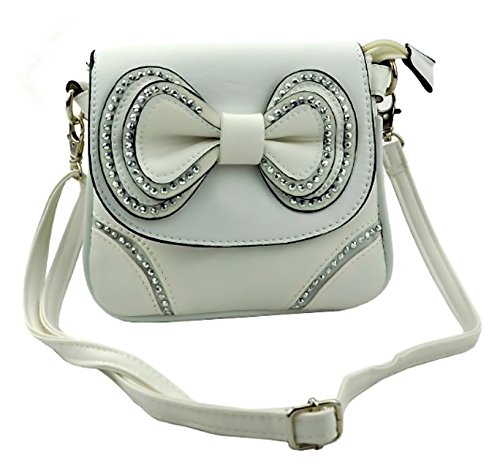 Womens EyeCatch Diamante Bow Lyla Body White Bag Cross ShoulderBag wqqz51nf