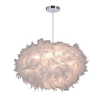 iDEGU Lustre Suspension Ø 45cm Lustre Plume Blanche Suspension Luminaire  pour Chambre