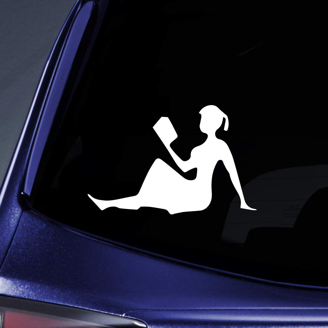 "Bargain Max Decals - Girl Reading Smart - Sticker Decal Notebook Car Laptop 5"" (White)"