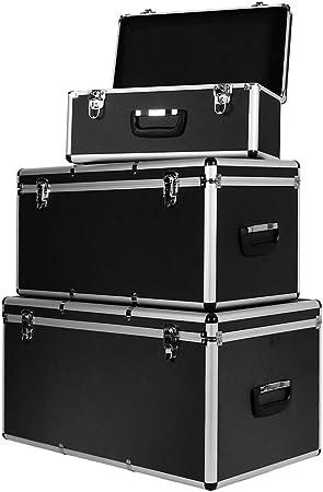 Set Juego de 3 Cajas de Aluminio Caja de Transporte Caja de Herramientas V2Aox Negro: Amazon.es: Bricolaje y herramientas