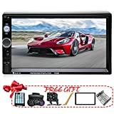 Double Din Car Stereo in-Dash Bluetooth Touch Screen 7 inch with Rear-View Camera,Video MP5/4/3 Player, Radio FM, Car Stereo Receiver, Support Steering Wheel Remote Control, Mirror Link, Caller ID