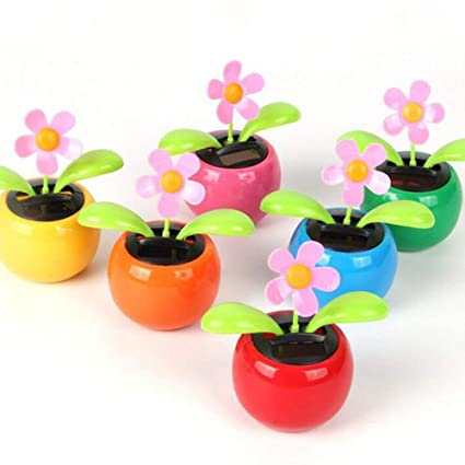 0ef36f175 Image Unavailable. Image not available for. Color  IfSelect Dancing Flowers  Solar Dancing Flowers in Colorful Pots Car Flowerpot Solar Power Flip Flap  ...