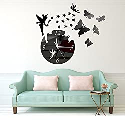 Y-Hui Diy Butterfly Fairies Wall Clock 3D Stars Wall Clock Is Decorated Bedroom Living Room Decorative Wall Clock, 14 Inch, Black