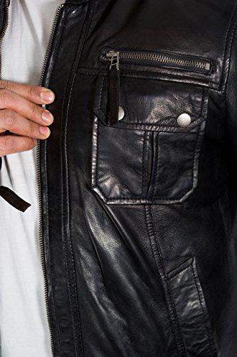 Noir Avant Džtaillžes Cuir Fixation Zip Veste Mens En Stud Poches qxdzxvROwZ