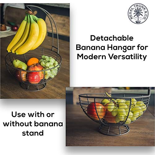 Fruit Basket With Banana Hanger - Regal Trunk Rustic French Farmhouse Fruit Bowl With Banana Tree Hangar | Vegetable and Fruit Bowl With Detachable Banana Stand | Countertop Fruit Bowl Centerpiece by Regal Trunk & Co. (Image #2)