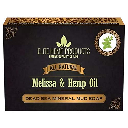 All Natural Dead Sea Mineral Mud Soap Infused With Hemp Oil Detoxifying Body & Face Cleanser, Body Odor, and helps Skin Irritation | Non GMO (Melissa & Hemp Oil)
