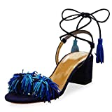 Lovirs Womens Multicolored Open Toe Ankle Ties Chunky Heel Fringed Suede Sandals Dress Causal Shoes 10 M US