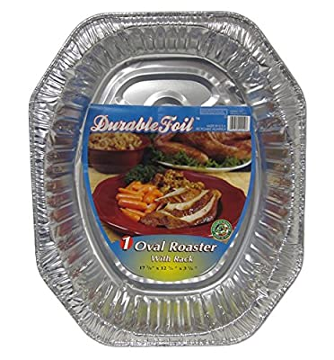 "Durable Packaging D40010 Oval Aluminum Roasting Pan, X-Large, 18-1/2"" x 14"" x 3-3/8"" (Pack of 12)"