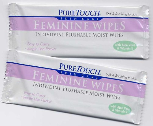 Puretouch Feminine Wipes - PureTouch Feminine Wipes 24 Individual Flushable Moist Wipes/ 6 boxes 144 Single-Use-Packets