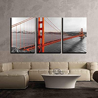 3 Piece Canvas Wall Art - Golden Gate in San Francisco, California, USA. - Modern Home Art Stretched and Framed Ready to Hang - 24