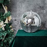 BalsaCircle 4 pcs 8-Inch Silver Glass Hanging Party Disco Mirror Balls Wedding Birthday Home Decorations Christmas Ornaments