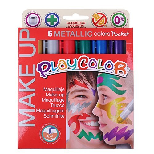 PLAYCOLOR MAKEUP face paint 6 book set silver easy flush recaps type European CE mark certification products (metallic) by PLAYCOLOR