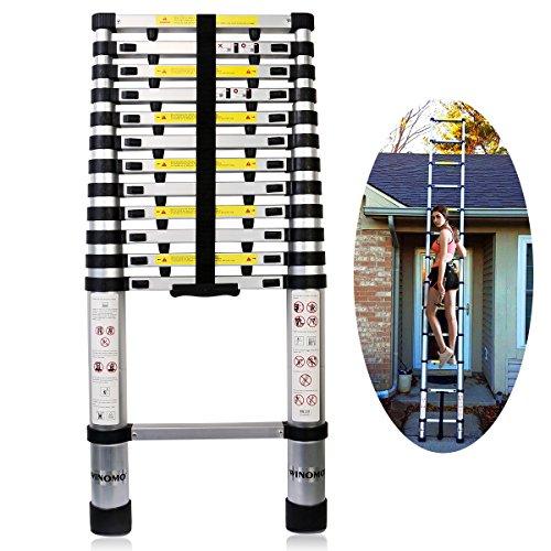 Extend Ladder 12 5 : Winomo aluminum telescoping ladder folding