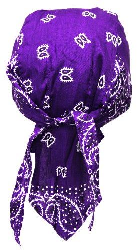 Bandana de motard rocker cap (violet/blanc)