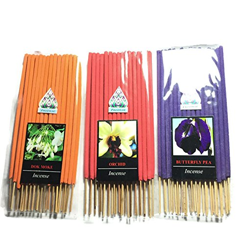 3 Pcs 90 STICKS (DOK-MORE,ORCHID,BUTTERFLY PEA) INCENSE STICK AROMA FRAGRANCE PREMIUM WOODS SCENT NATURAL