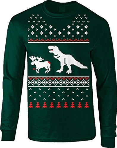 T-Rex Attack Moose Ugly Sweater LONG SLEEVE Shirt Funny Christmas Shirt Dino (Forest Green) M